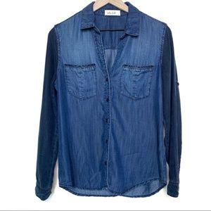 Bella Dahl Chambray Tonal Button Down Shirt Size S